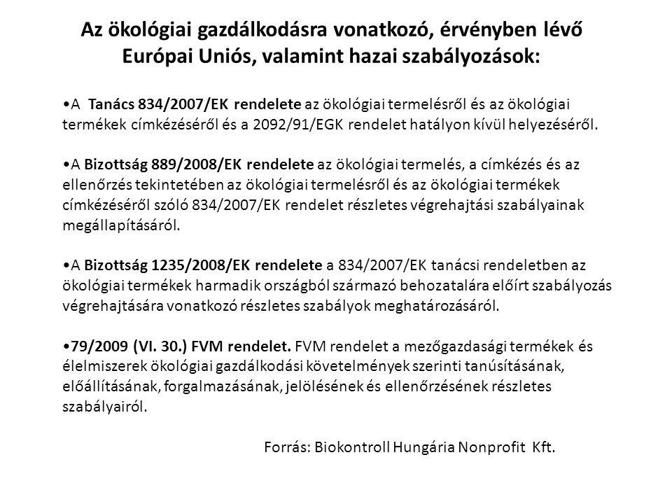 Az ökológiai gazdálkodásra vonatkozó, érvényben lévő Európai Uniós, valamint hazai szabályozások: