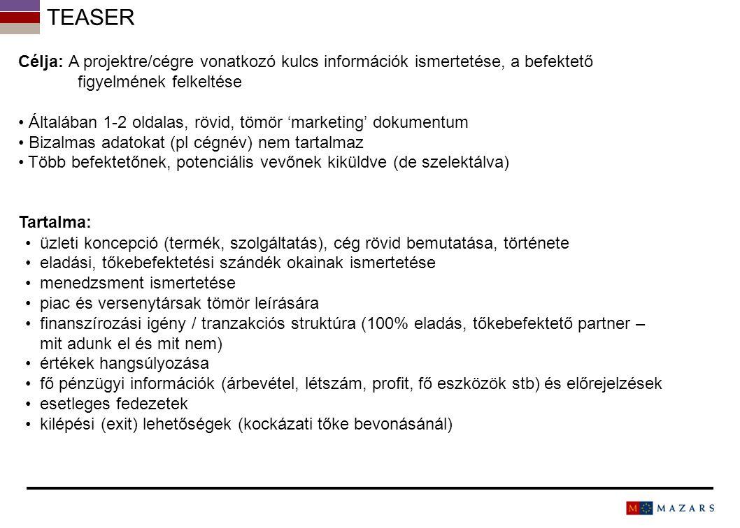 Teaser Célja: A projektre/cégre vonatkozó kulcs információk ismertetése, a befektető figyelmének felkeltése.