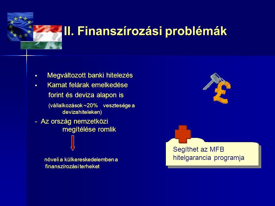 II. Finanszírozási problémák