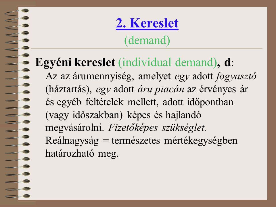 2. Kereslet (demand) Egyéni kereslet (individual demand), d: