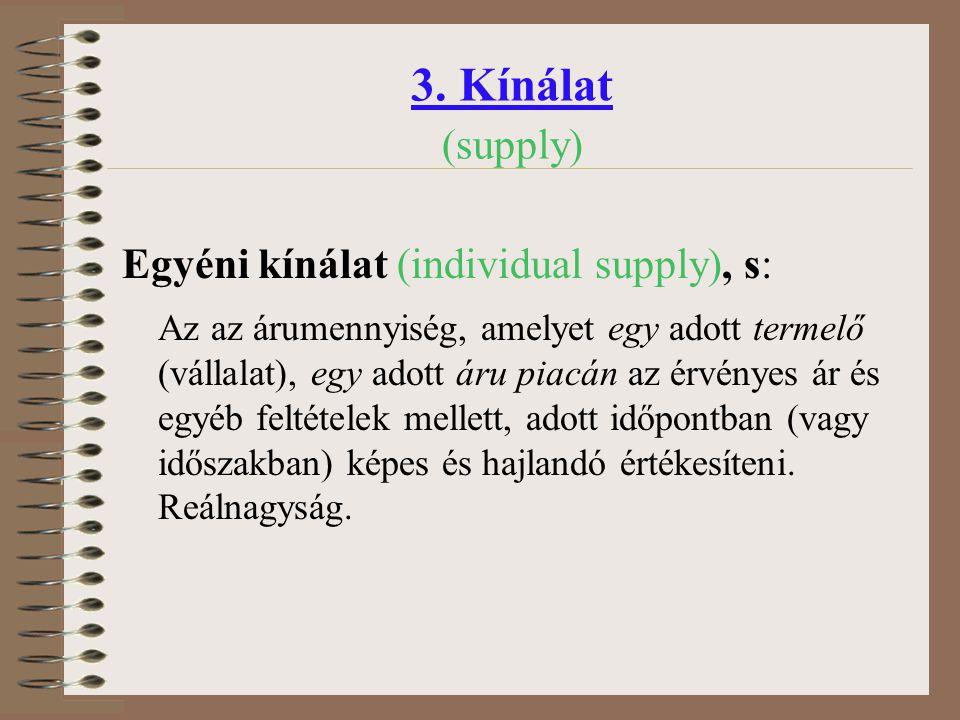 3. Kínálat (supply) Egyéni kínálat (individual supply), s: