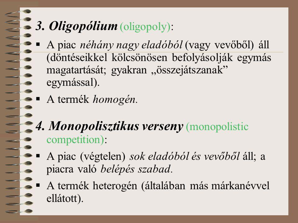 3. Oligopólium (oligopoly):