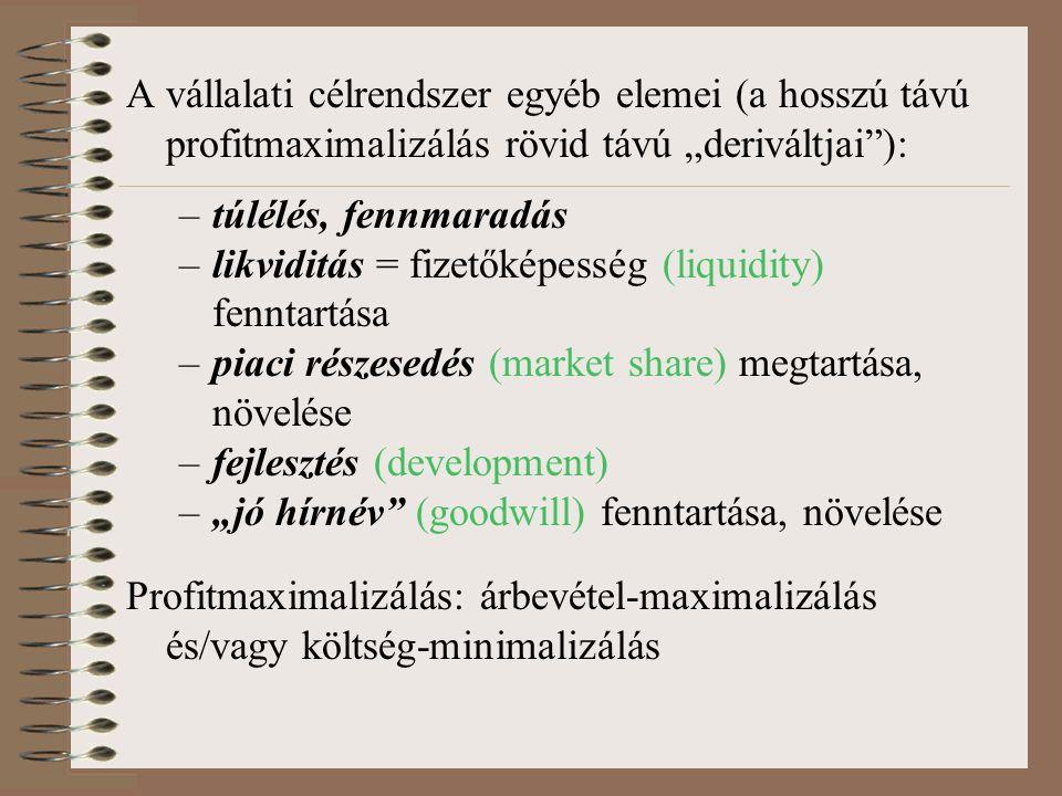 """A vállalati célrendszer egyéb elemei (a hosszú távú profitmaximalizálás rövid távú """"deriváltjai ):"""