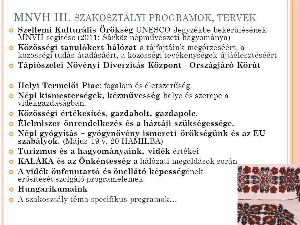 MNVH III. szakosztályi programok, tervek