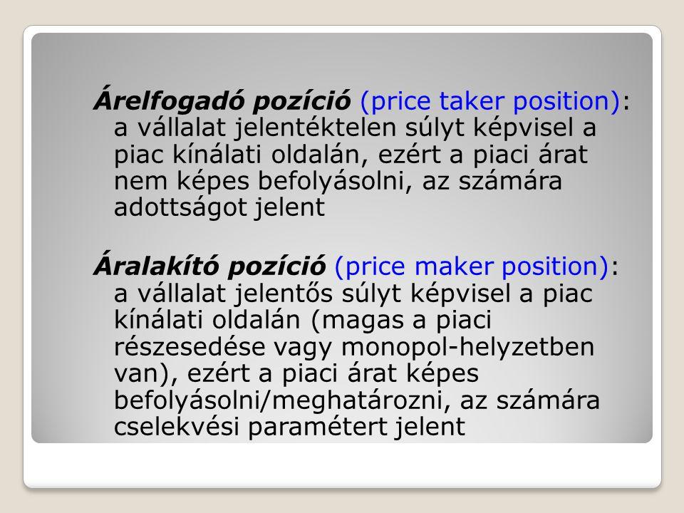 Árelfogadó pozíció (price taker position): a vállalat jelentéktelen súlyt képvisel a piac kínálati oldalán, ezért a piaci árat nem képes befolyásolni, az számára adottságot jelent Áralakító pozíció (price maker position): a vállalat jelentős súlyt képvisel a piac kínálati oldalán (magas a piaci részesedése vagy monopol-helyzetben van), ezért a piaci árat képes befolyásolni/meghatározni, az számára cselekvési paramétert jelent