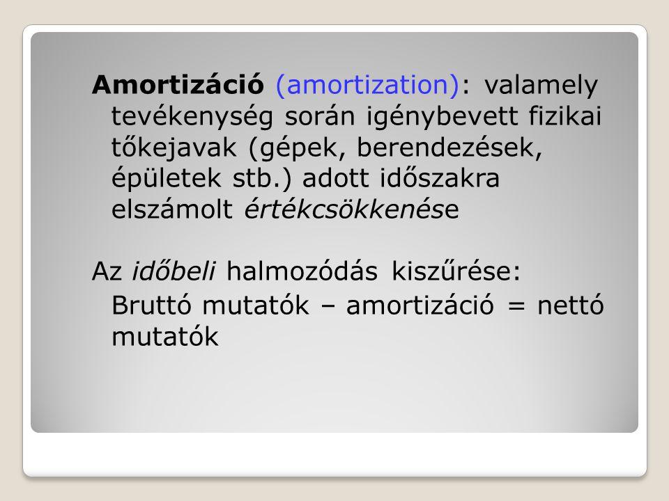 Amortizáció (amortization): valamely tevékenység során igénybevett fizikai tőkejavak (gépek, berendezések, épületek stb.) adott időszakra elszámolt értékcsökkenése Az időbeli halmozódás kiszűrése: Bruttó mutatók – amortizáció = nettó mutatók