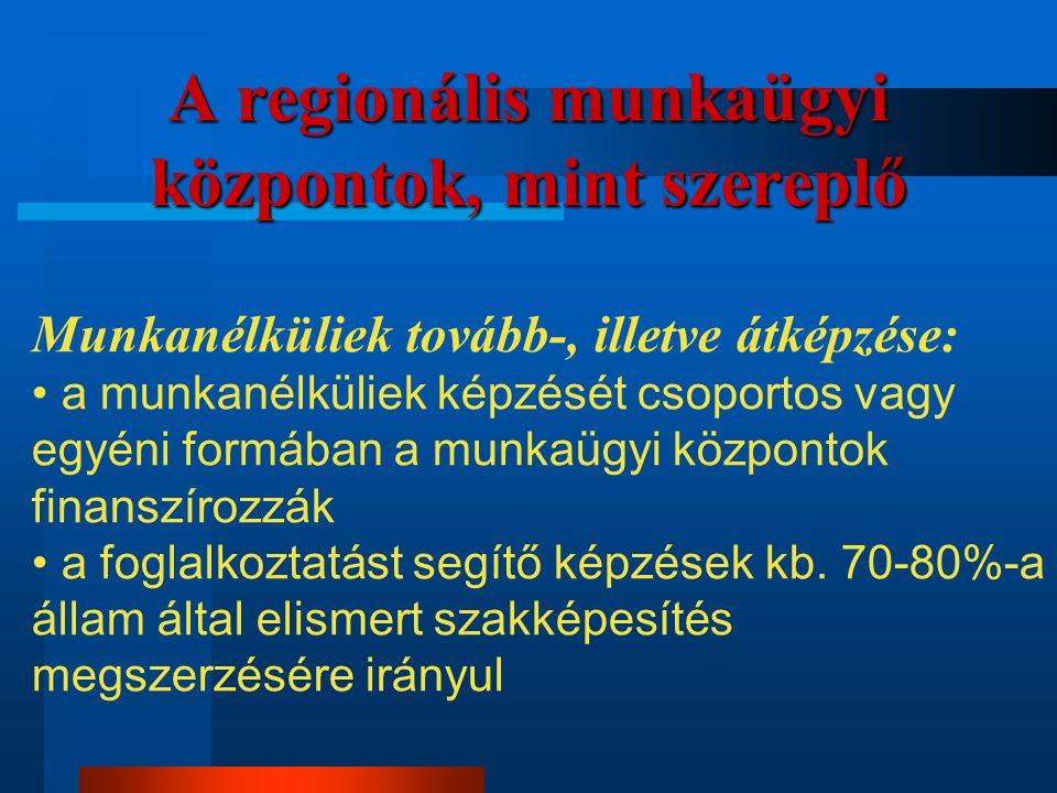 A regionális munkaügyi központok, mint szereplő