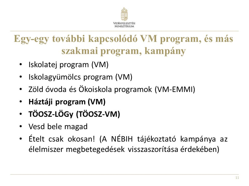 Egy-egy további kapcsolódó VM program, és más szakmai program, kampány