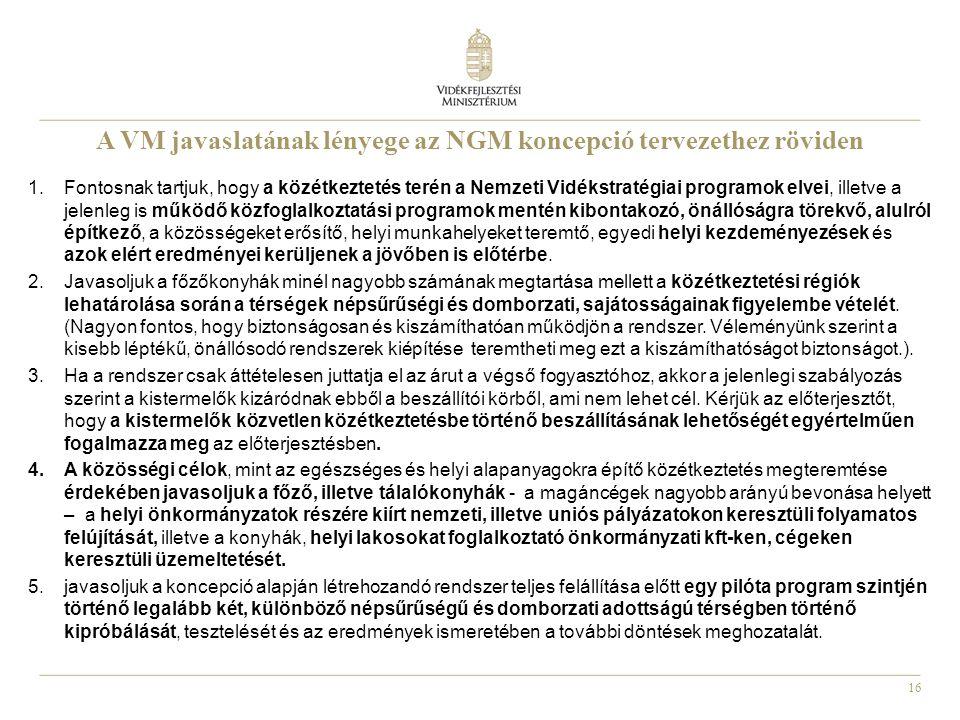 A VM javaslatának lényege az NGM koncepció tervezethez röviden