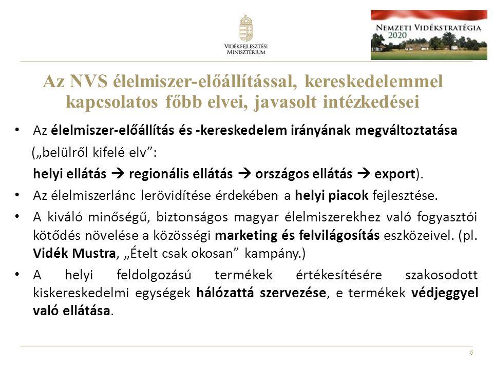 Az NVS élelmiszer-előállítással, kereskedelemmel kapcsolatos főbb elvei, javasolt intézkedései