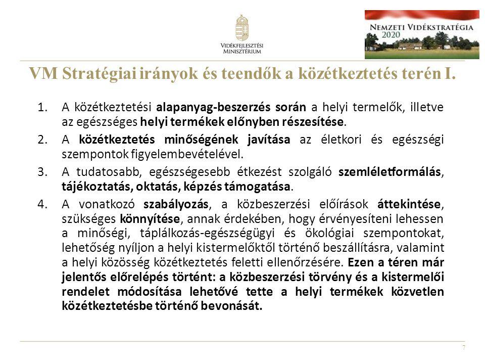 VM Stratégiai irányok és teendők a közétkeztetés terén I.