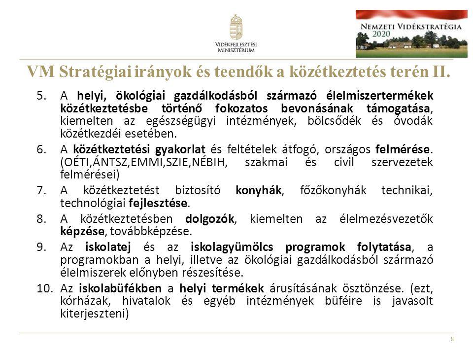 VM Stratégiai irányok és teendők a közétkeztetés terén II.