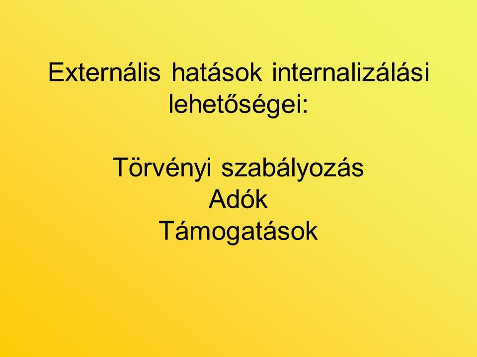 Externális hatások internalizálási lehetőségei: Törvényi szabályozás Adók Támogatások