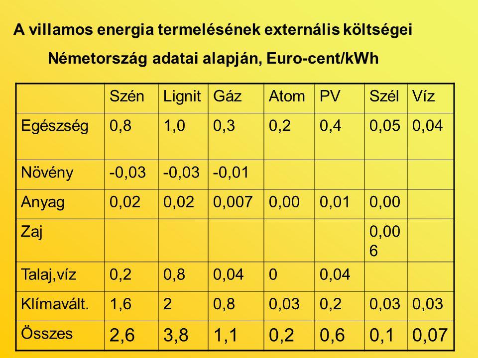 A villamos energia termelésének externális költségei