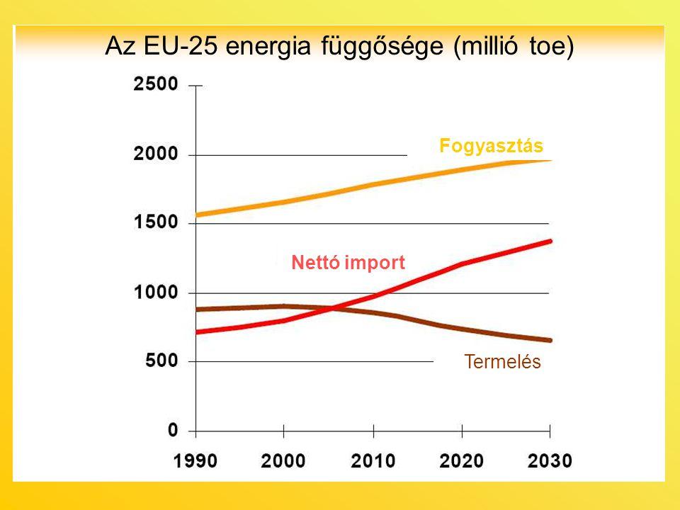 Az EU-25 energia függősége (millió toe)