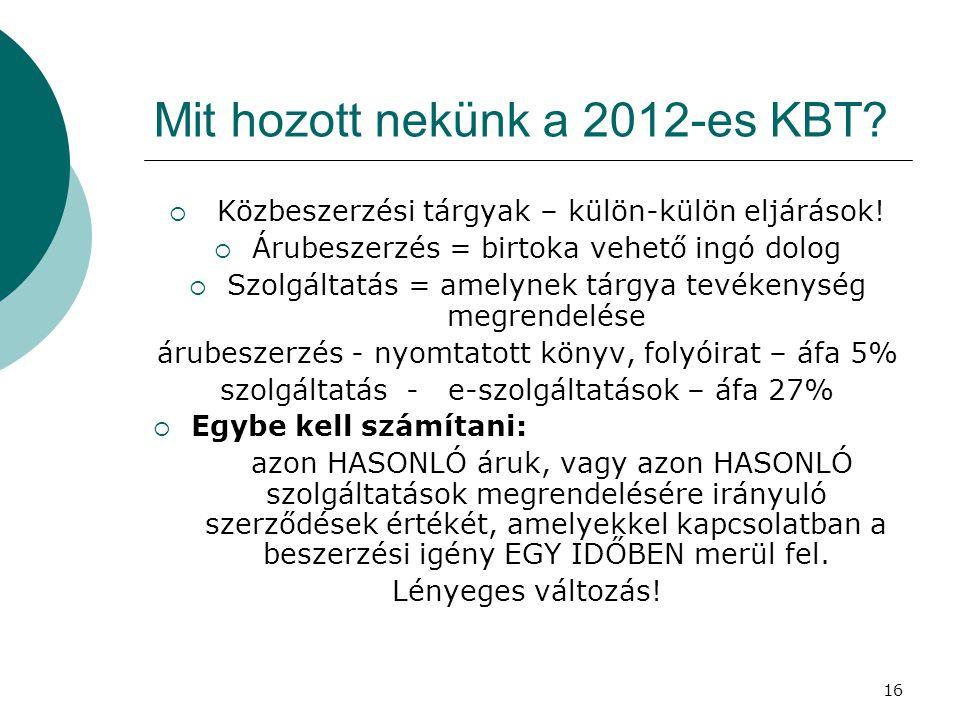 Mit hozott nekünk a 2012-es KBT
