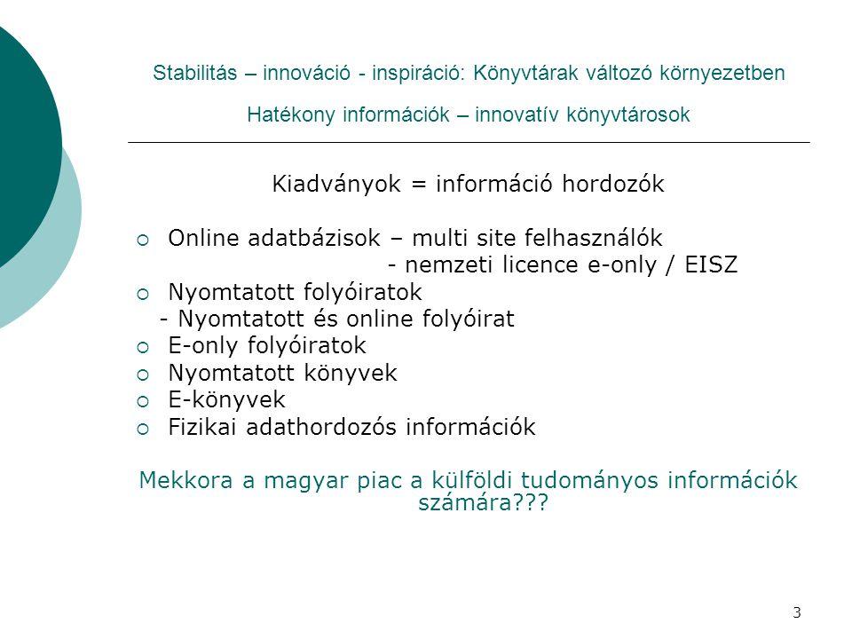 Kiadványok = információ hordozók