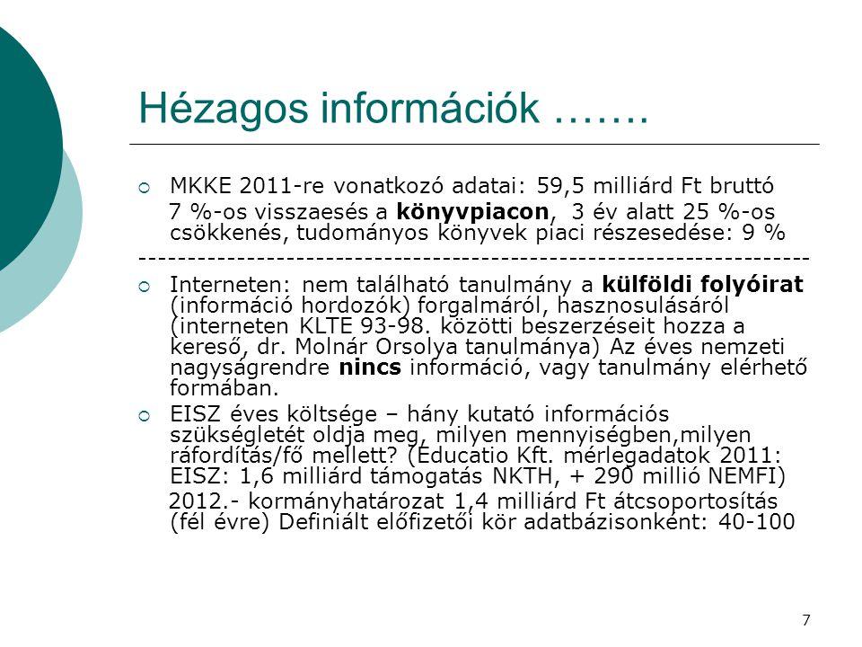 Hézagos információk …….