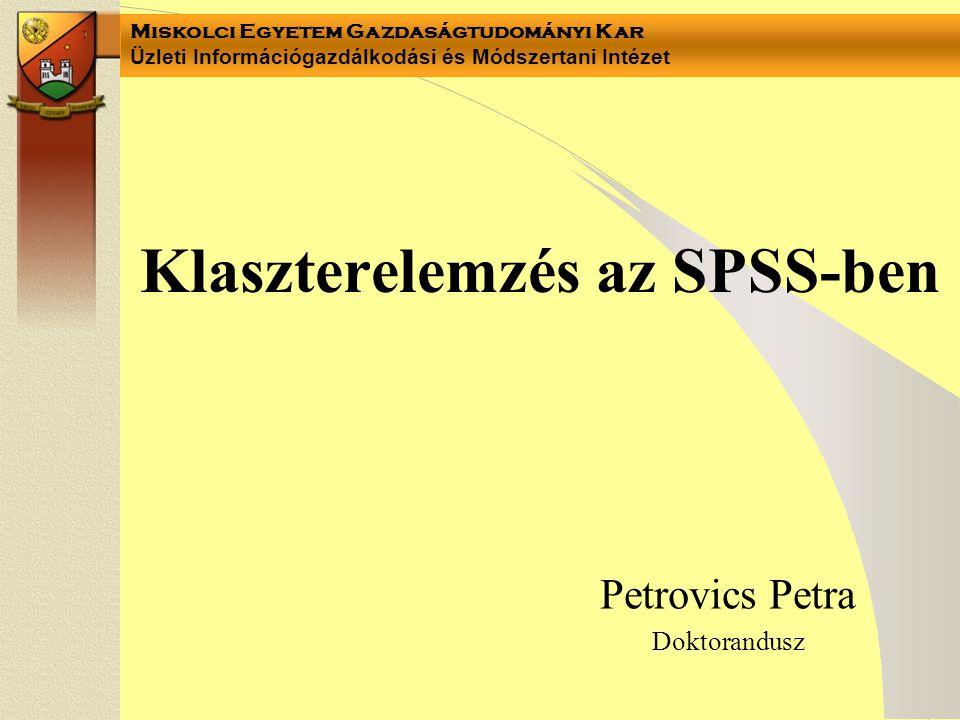Klaszterelemzés az SPSS-ben