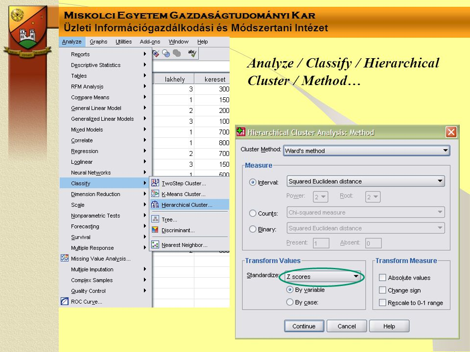 Analyze / Classify / Hierarchical Cluster / Method…