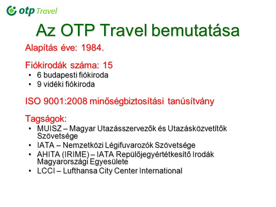 Az OTP Travel bemutatása