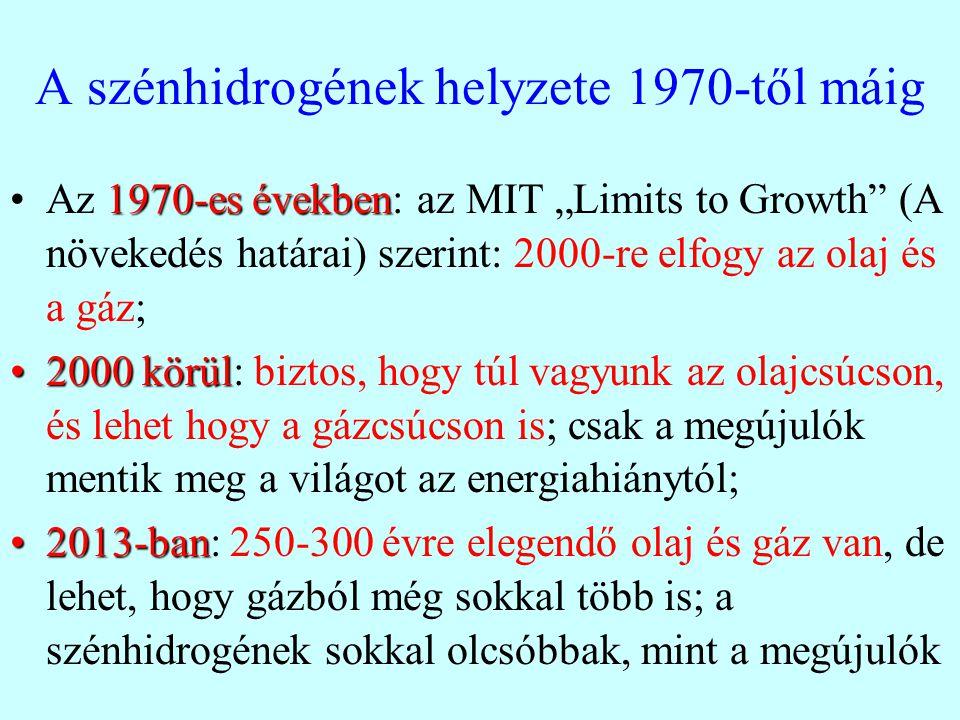 A szénhidrogének helyzete 1970-től máig