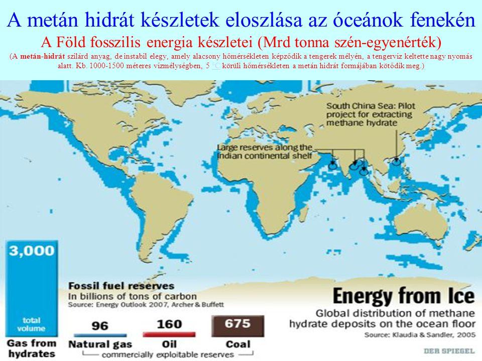 A metán hidrát készletek eloszlása az óceánok fenekén A Föld fosszilis energia készletei (Mrd tonna szén-egyenérték) (A metán-hidrát szilárd anyag, de instabil elegy, amely alacsony hőmérsékleten képződik a tengerek mélyén, a tengervíz keltette nagy nyomás alatt.