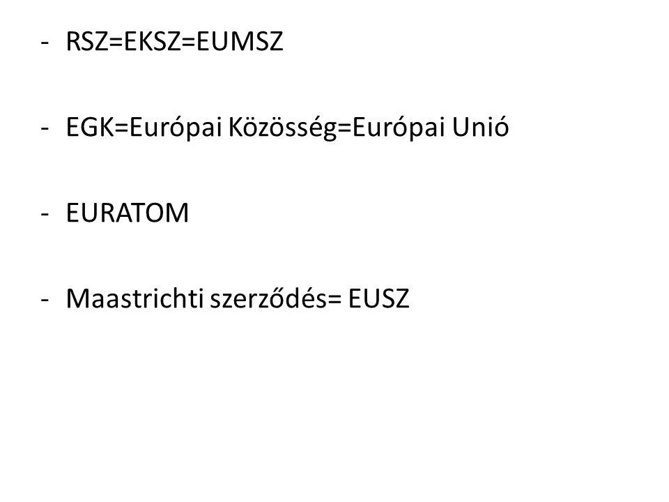 RSZ=EKSZ=EUMSZ EGK=Európai Közösség=Európai Unió EURATOM Maastrichti szerződés= EUSZ