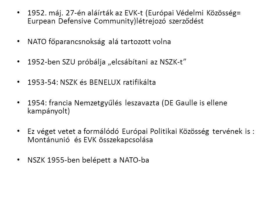 1952. máj. 27-én aláírták az EVK-t (Európai Védelmi Közösség= Eurpean Defensive Community)létrejozó szerződést