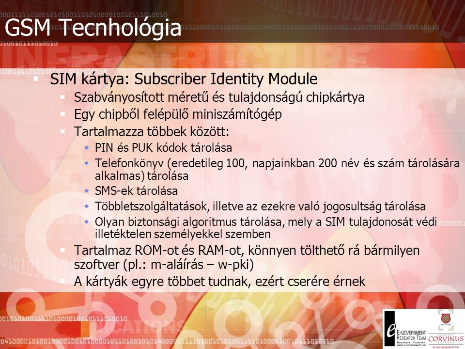 GSM Tecnhológia SIM kártya: Subscriber Identity Module