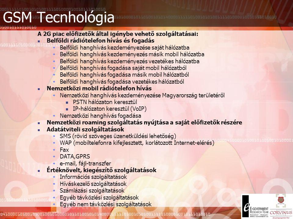 GSM Tecnhológia A 2G piac előfizetők által igénybe vehető szolgáltatásai: Belföldi rádiótelefon hívás és fogadás.