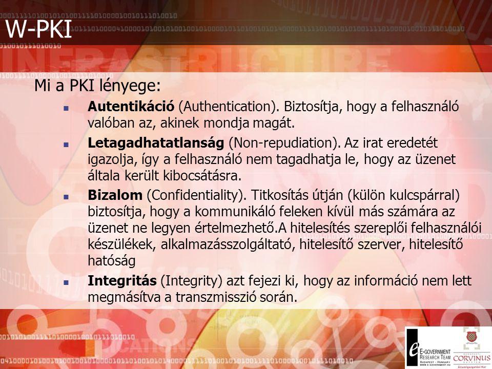 W-PKI Mi a PKI lényege: Autentikáció (Authentication). Biztosítja, hogy a felhasználó valóban az, akinek mondja magát.