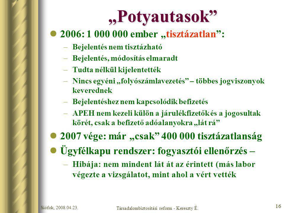 Társadalombiztosítási reform - Kereszty É.