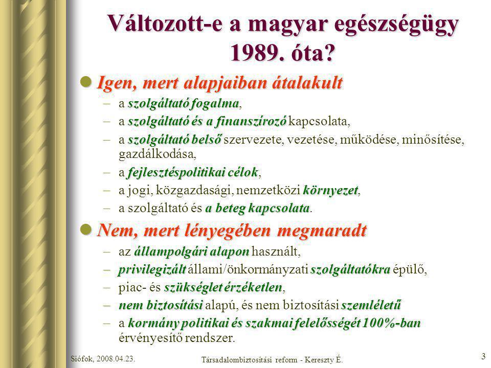 Változott-e a magyar egészségügy 1989. óta