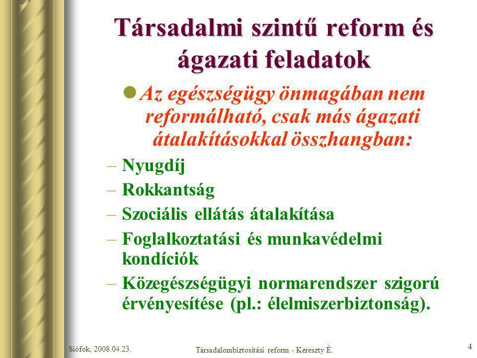 Társadalmi szintű reform és ágazati feladatok