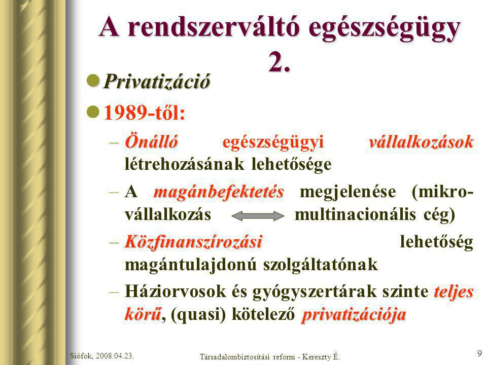 A rendszerváltó egészségügy 2.