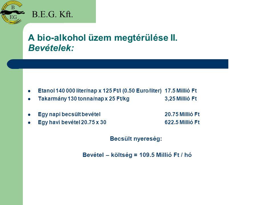 A bio-alkohol üzem megtérülése II. Bevételek: