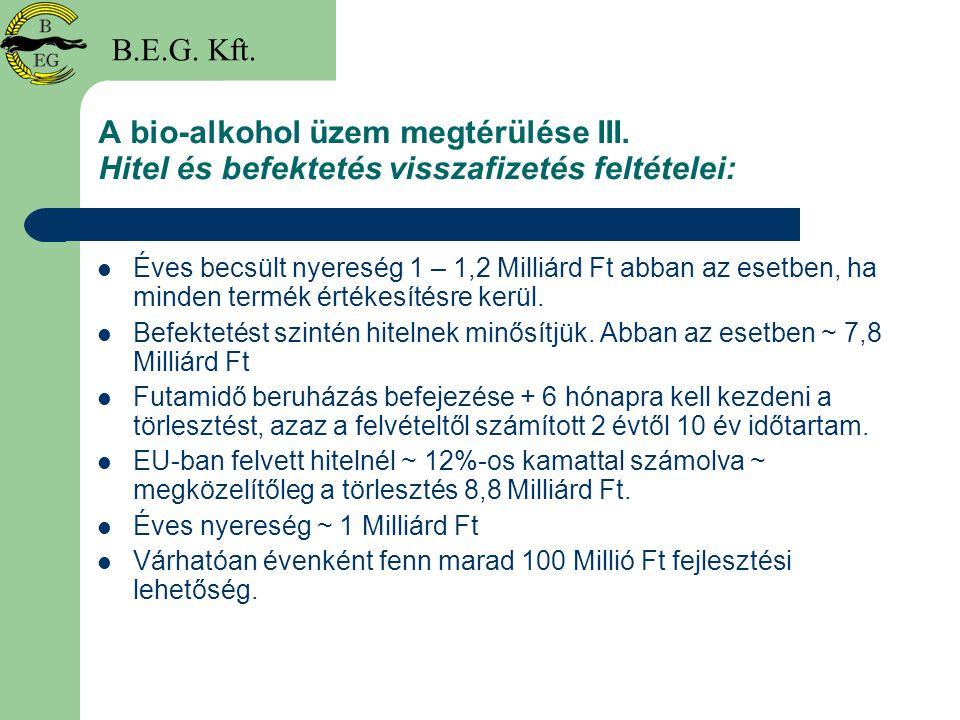B.E.G. Kft. A bio-alkohol üzem megtérülése III. Hitel és befektetés visszafizetés feltételei: