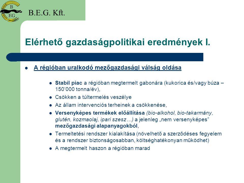 Elérhető gazdaságpolitikai eredmények I.