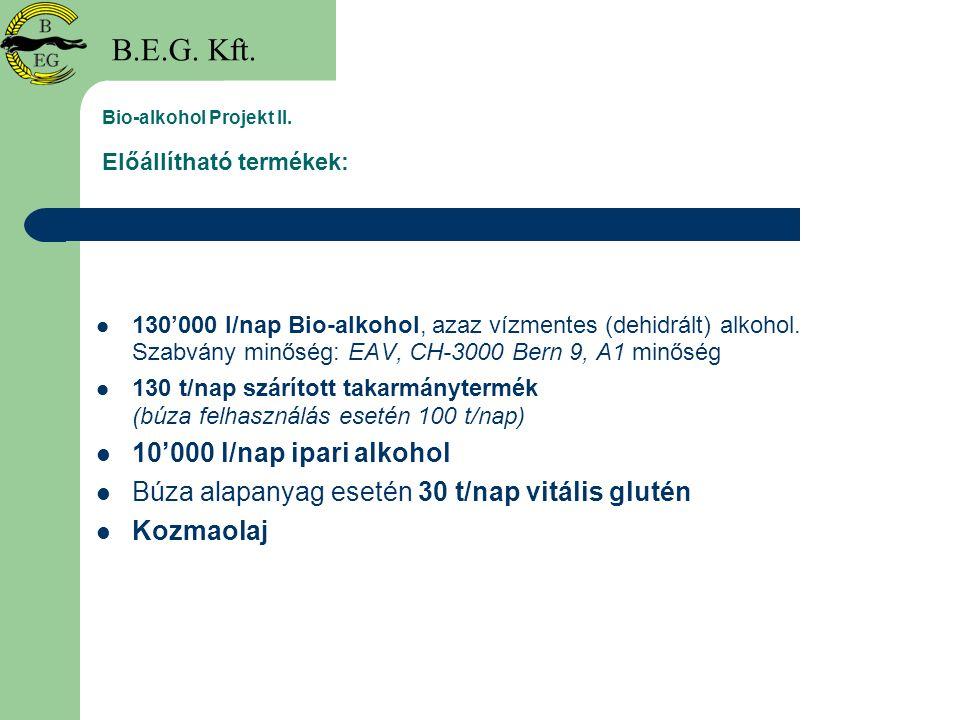 Bio-alkohol Projekt II. Előállítható termékek: