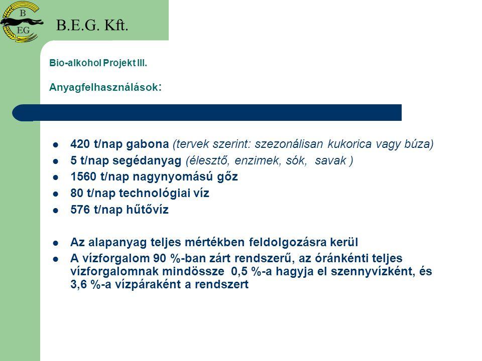 Bio-alkohol Projekt III. Anyagfelhasználások:
