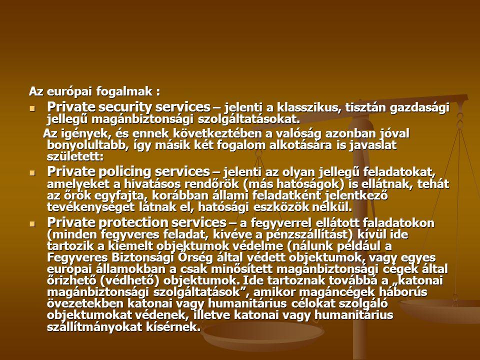 Az európai fogalmak : Private security services – jelenti a klasszikus, tisztán gazdasági jellegű magánbiztonsági szolgáltatásokat.