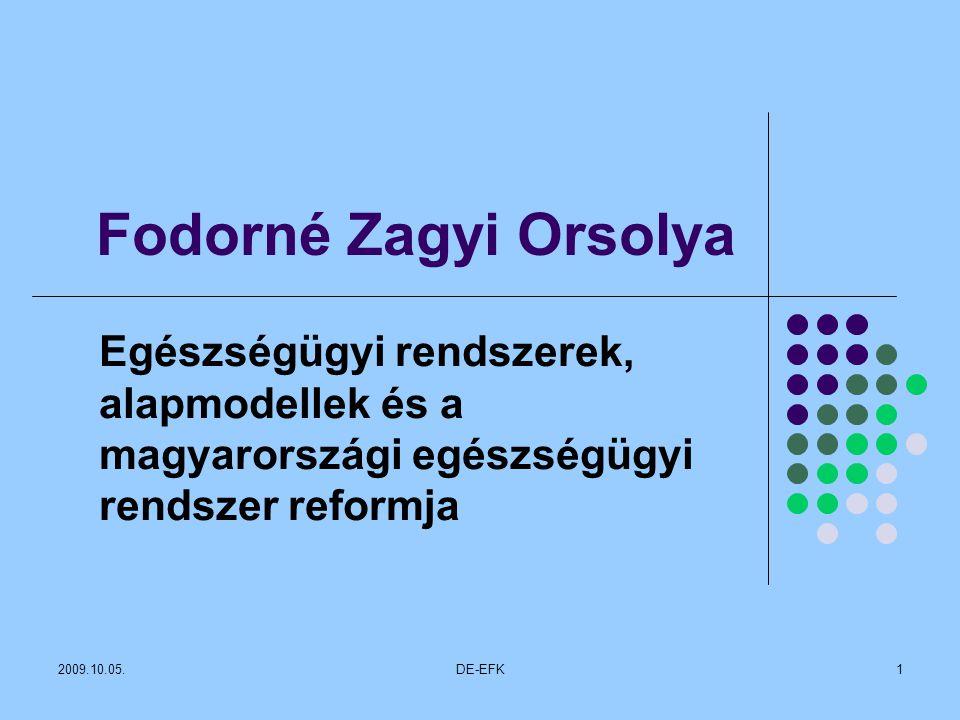 Fodorné Zagyi Orsolya Egészségügyi rendszerek, alapmodellek és a magyarországi egészségügyi rendszer reformja.