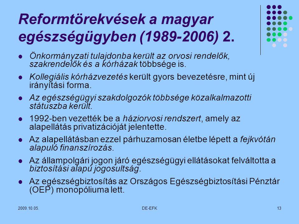 Reformtörekvések a magyar egészségügyben (1989-2006) 2.