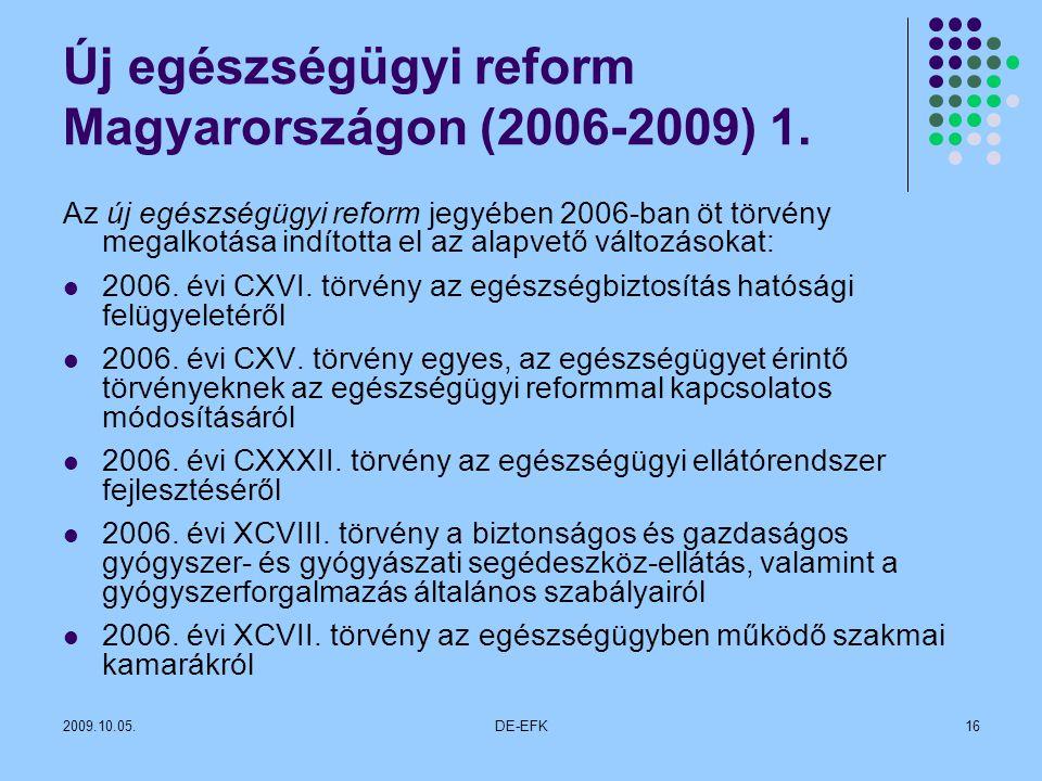 Új egészségügyi reform Magyarországon (2006-2009) 1.