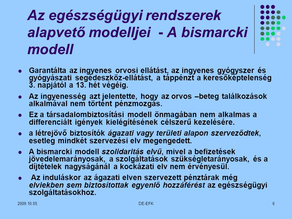 Az egészségügyi rendszerek alapvető modelljei - A bismarcki modell