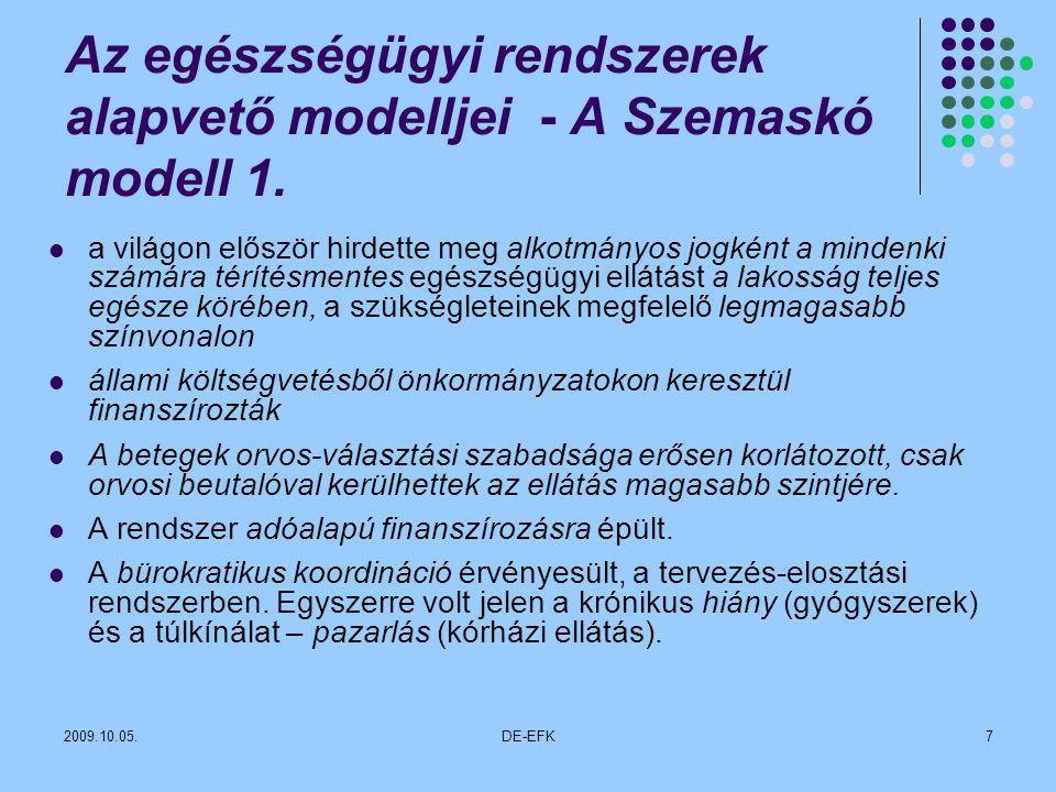 Az egészségügyi rendszerek alapvető modelljei - A Szemaskó modell 1.