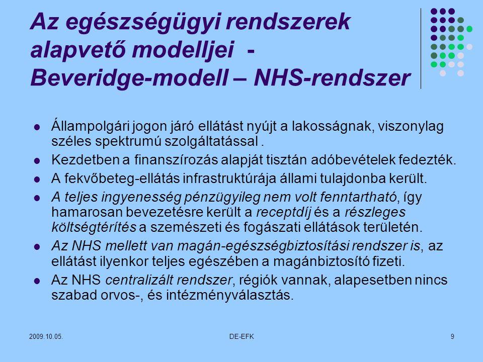 Az egészségügyi rendszerek alapvető modelljei - Beveridge-modell – NHS-rendszer