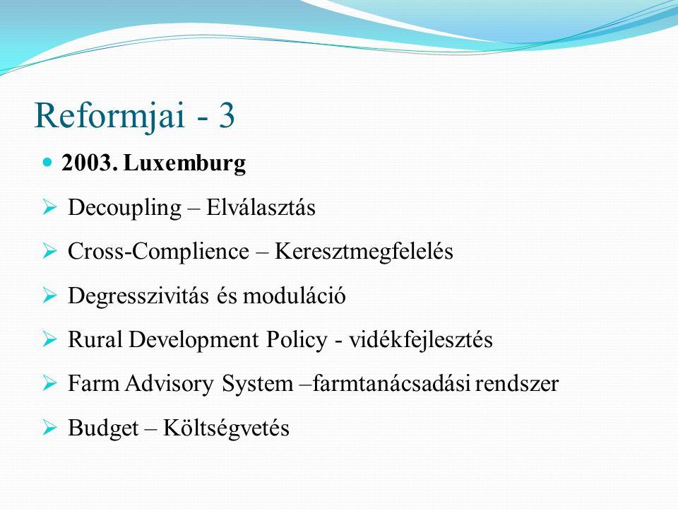 Reformjai - 3 2003. Luxemburg Decoupling – Elválasztás
