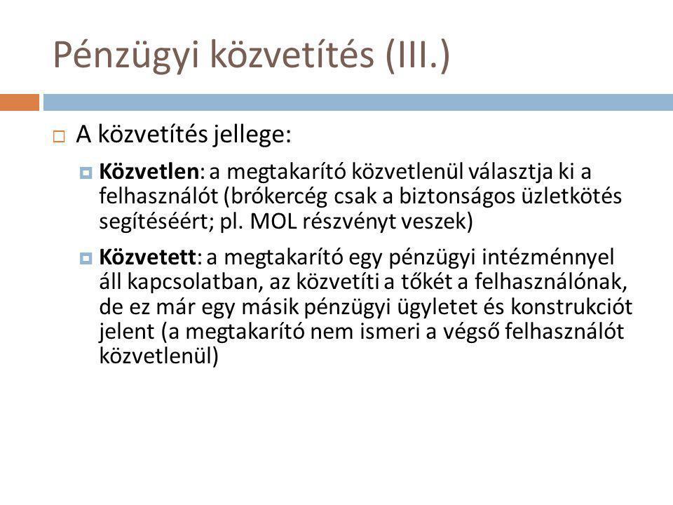 Pénzügyi közvetítés (III.)